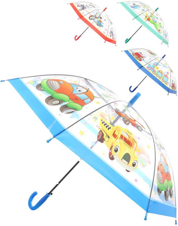 Deštník dětský vystřelovací dopravní prostředky různé druhy transparentní