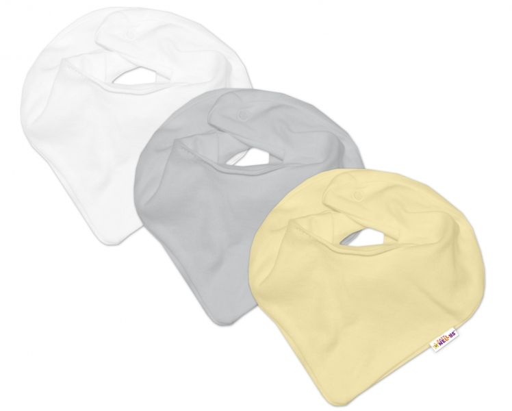Baby Nellys Kojenecká neutrální sada šátků na krk BASIC - žlutá, šedá, bílá - 3 ks - univerzální