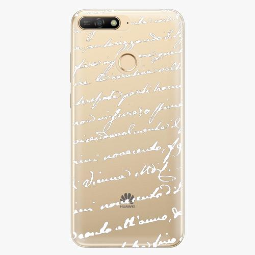Silikonové pouzdro iSaprio - Handwriting 01 - white - Huawei Y6 Prime 2018