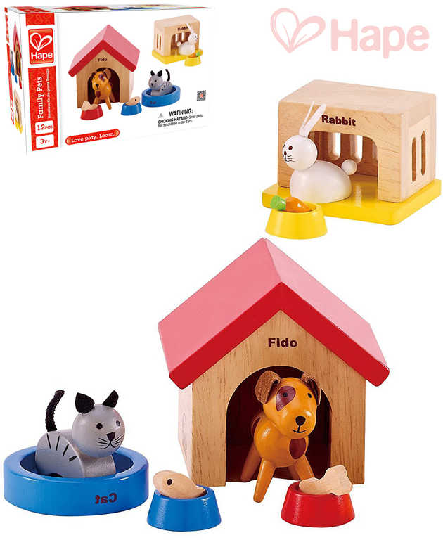 HAPE DŘEVO Mazlíčci herní set domácí zvířátka s domečkem a doplňky 12 dílků