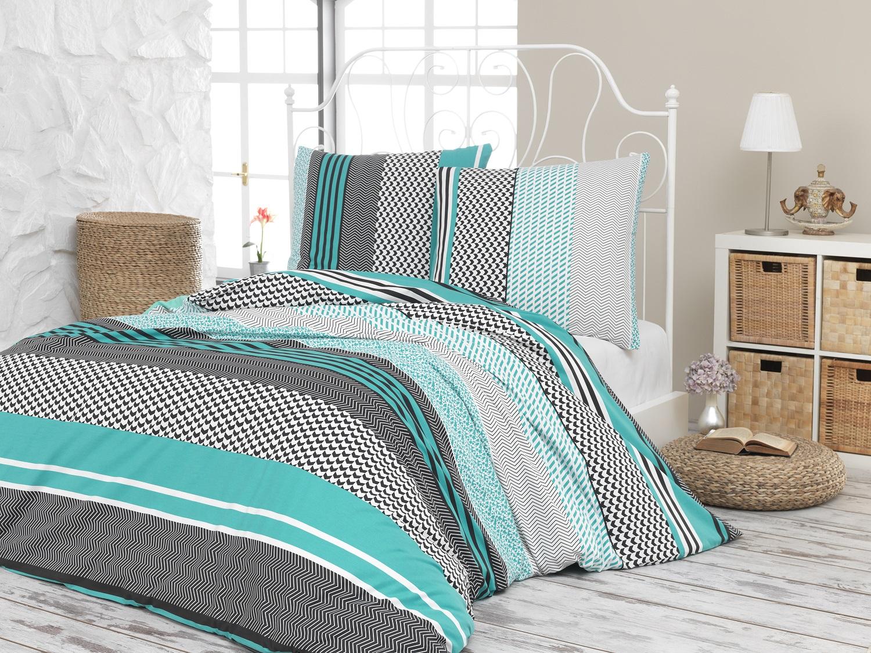Prodloužené povlečení bavlna 140x220, 70x90cm Sorento green, Výběr zapínání: zipový uzávěr