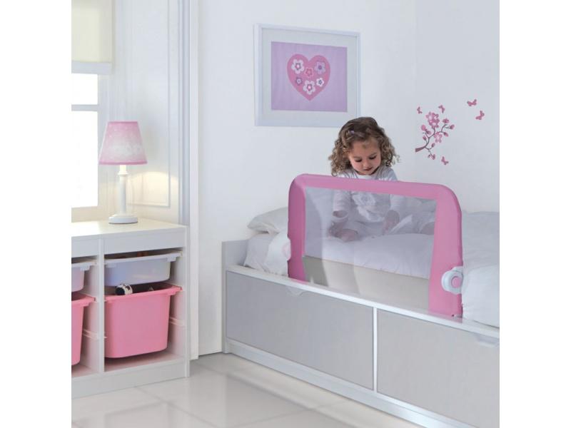 Lindam - Dětská zábrana kposteli růžová