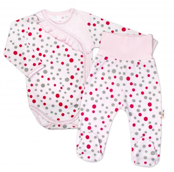 2-dílná kojenecká sada Baby Nellys - Puntíky - růžová,vel. 68 - 68 (4-6m)