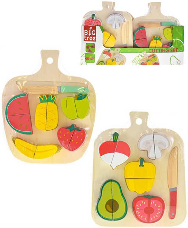 DŘEVO Baby krájecí ovoce / zelenina na suchý zip set s nožíkem 2 druhy