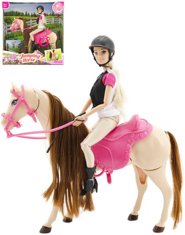 Set kůň čeascí s pohybem na baterie + panenka Anlily žokejka 29cm