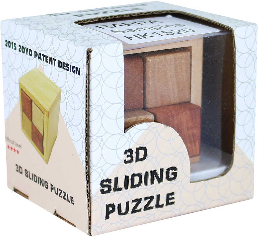 DŘEVO Hlavolam posuvný 3D krychle v krabičce *DŘEVĚNÉ HRAČKY*