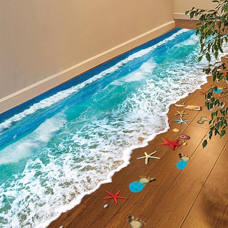 3D samolepky na podlahu - pláž