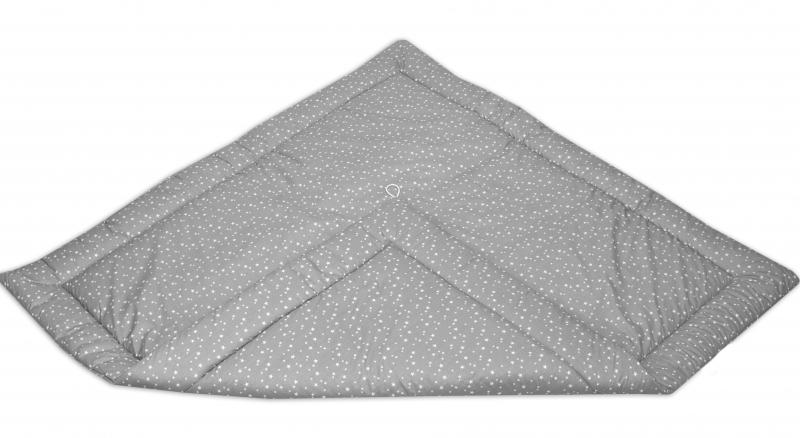 Podložka do stanu pro děti teepee, týpí - mini hvězdičky bílé na šedém/mini hvězdičky