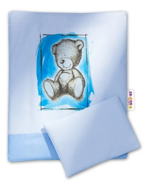 Baby Nellys 2-dílné povlečení do kočárku Sweet Dreams by Teddy - modré