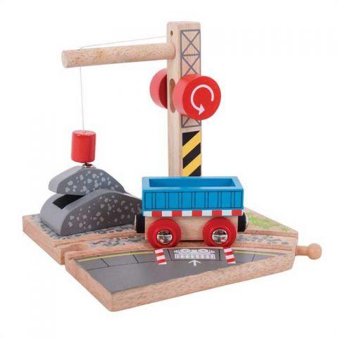 Bigjigs Rail Jeřáb se štěrkem
