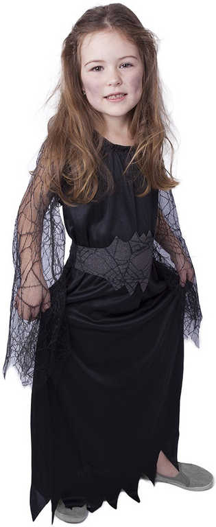KARNEVAL Šaty čarodějnice černá pavučina vel.M (116-128 cm) 6-8 let KOSTÝM