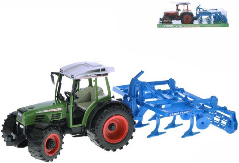 Traktor plastový 44cm set s pluhem na setrvačník 2 barvy