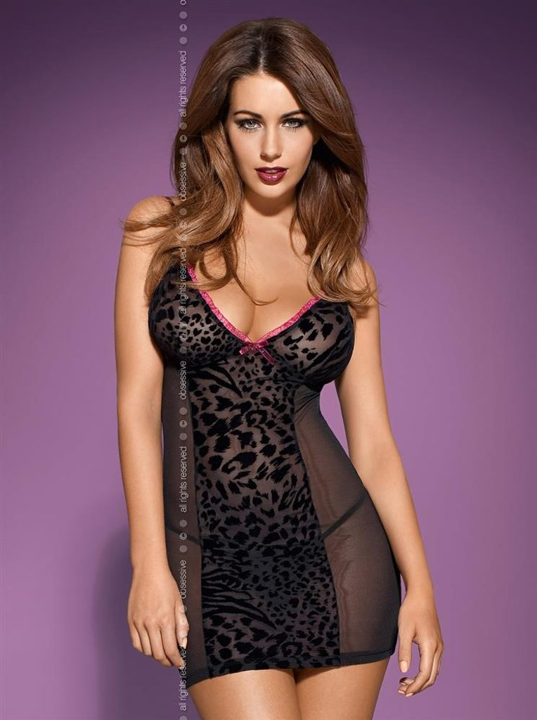 Košilka Obsessive Tigra chemise - Černá - L/XL