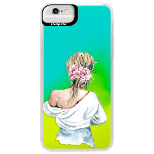 Neonové pouzdro Blue iSaprio - Girl with flowers - iPhone 6 Plus/6S Plus