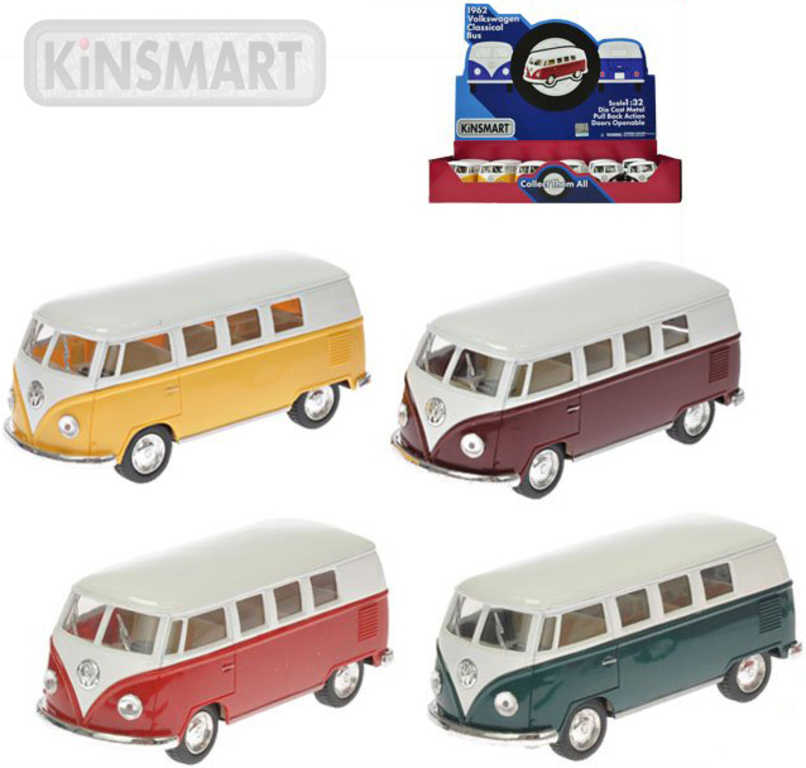 KINSMART Autobus model 1:32 VW Classic kov PB 13 cm zpětný chod - 4 barvy