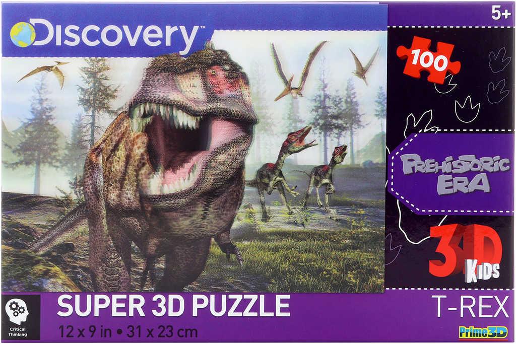 PUZZLE 3D Skládačka Dino T-Rex set 100 dílků 31x23cm Discovery