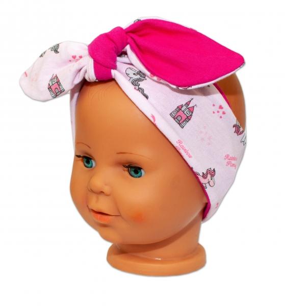 Baby Nellys Čelenka, šátek na zavazování uzlík, uni - sv. růžová s pony, tm. růžová - uni