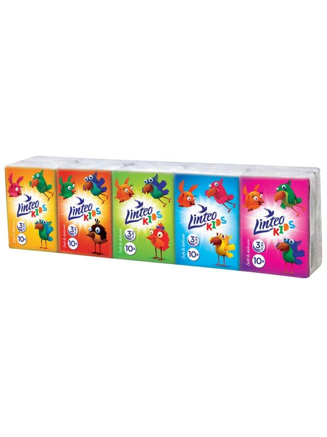 Papírové kapesníky Linteo Kids mini 10x10ks bílé 3-vrstvé - dle obrázku
