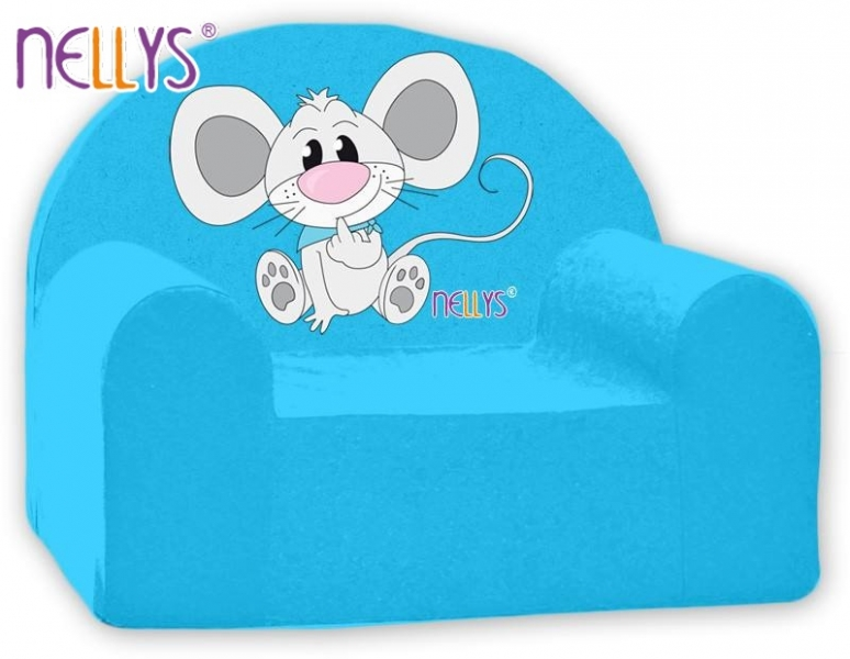 Dětské křeslo Nellys - Myška v modrém
