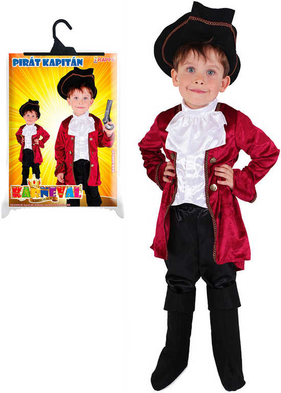 KARNEVAL Šaty kapitán Hook vel. L (8-10 let) set s kloboukem KOSTÝM