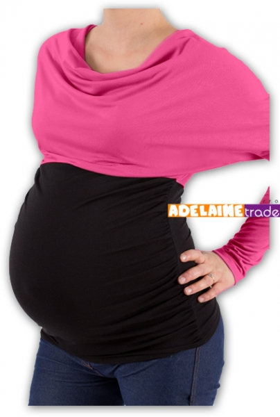 Těhotenská tunika VODA DUO - růžovo-černý, vel. L/XL - L/XL