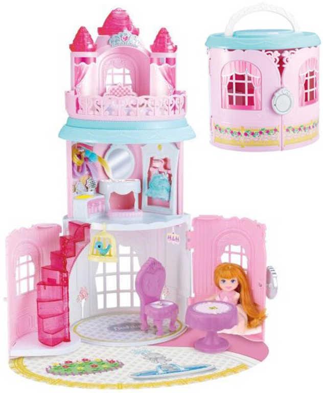 Domeček skládací plastový zámek set s panenkou a nábytkem v krabici