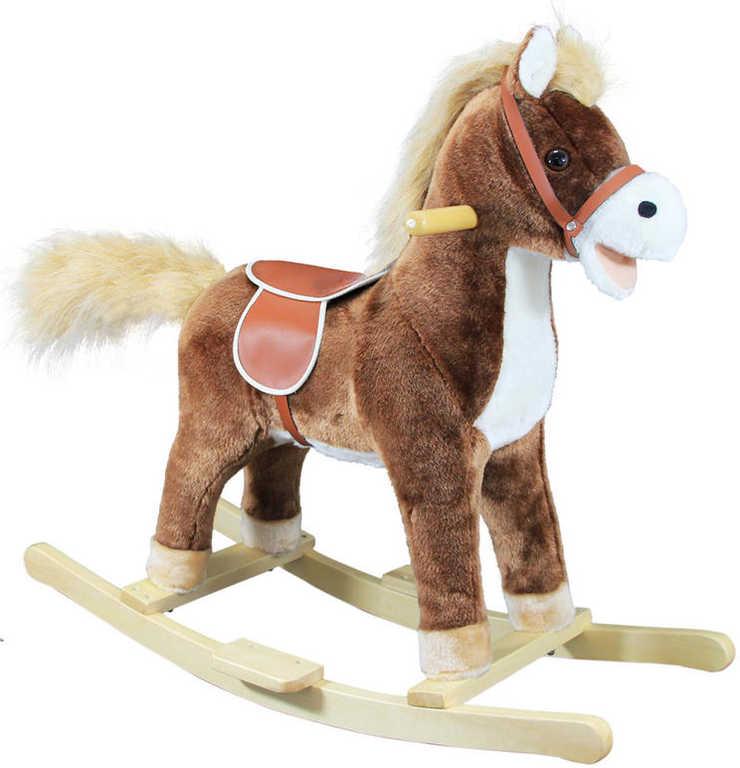 BINO Houpací plyšový koník (kůň) střední hnědý s pohybovými efekty Zvuk