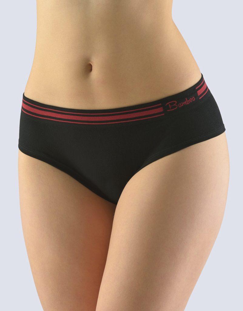 GINA dámské kalhotky francouzské, bezešvé, bokové, jednobarevné Natural Bamboo 04028P - černá kofola