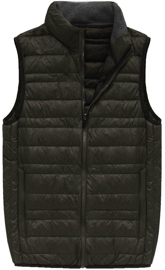 Khaki pánská vesta s přírodní vycpávkou (5008)