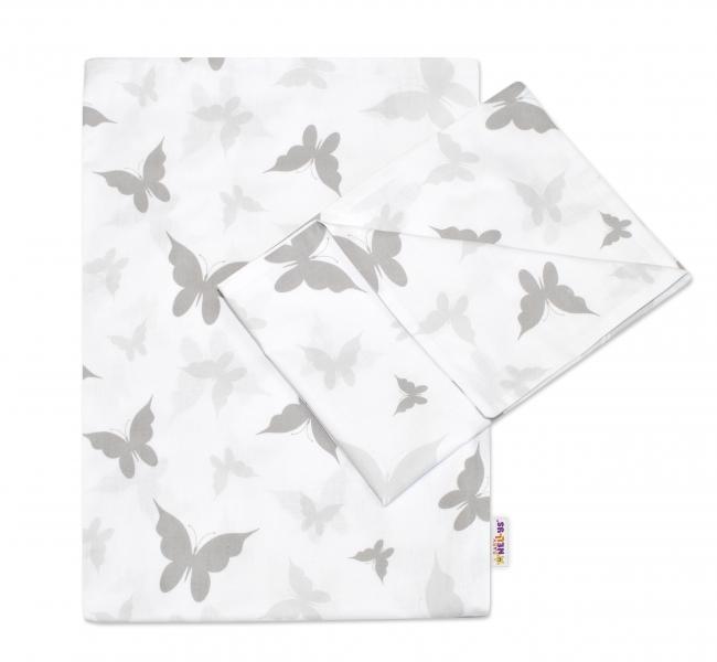 2-dílné bavlněné povlečení 135x100cm, Motýlci - šedé - 135x100