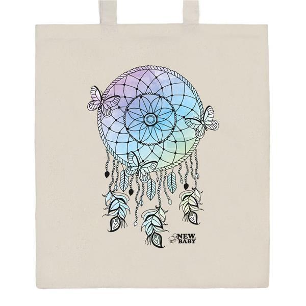 Bavlněná nákupní taška s potiskem New Baby Lapač snů - přírodní