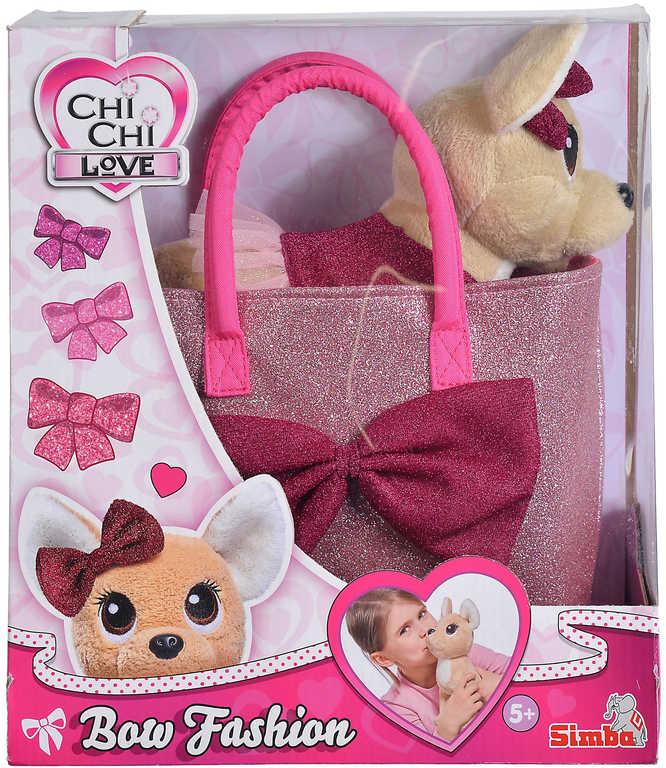 SIMBA Chi Chi Love Čivava Bow Fashion herní set pejsek plyšový v oblečku s taškou