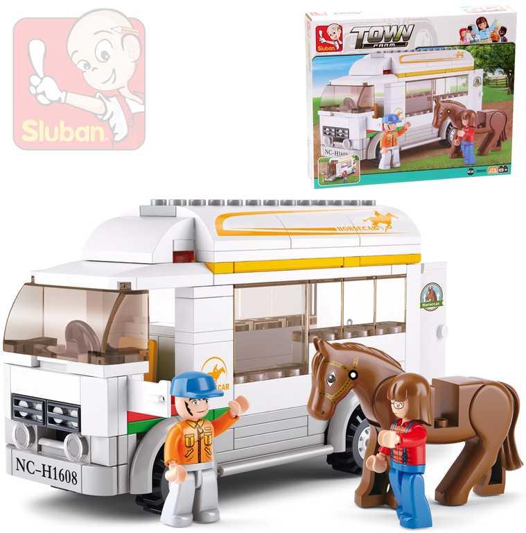 SLUBAN Stavebnice Auto pro koně 170 dílků + 2 figurky a koník plast