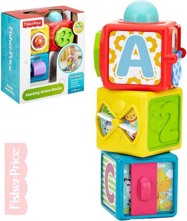 FISHER PRICE Baby akční kostky edukační pro miminko set 3ks v krabici plast