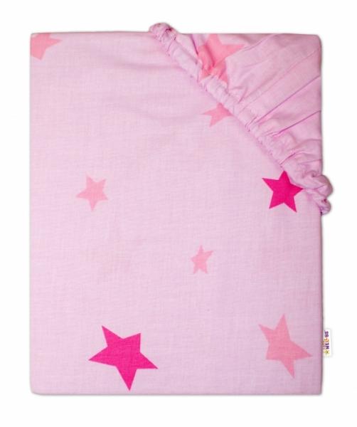 Baby Nellys Dětské bavlněné prostěradlo do ohrádky, 90x90cm - Hvězdičky růžové - 90x90