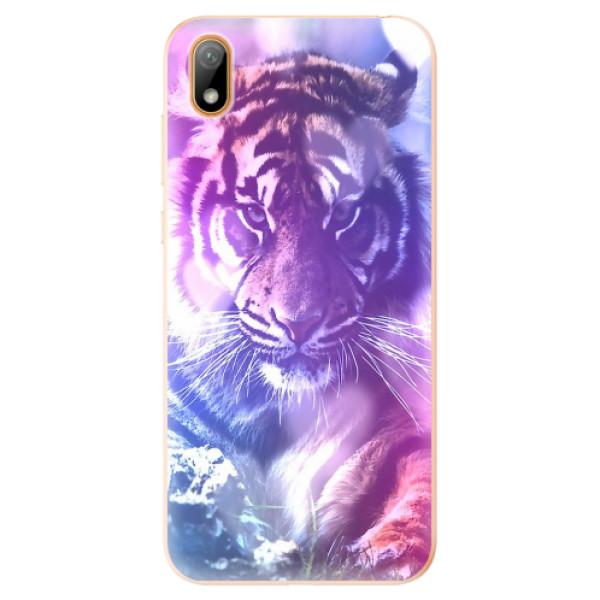 Odolné silikonové pouzdro iSaprio - Purple Tiger - Huawei Y5 2019