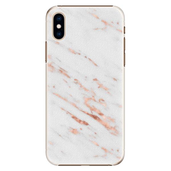 Plastové pouzdro iSaprio - Rose Gold Marble - iPhone XS