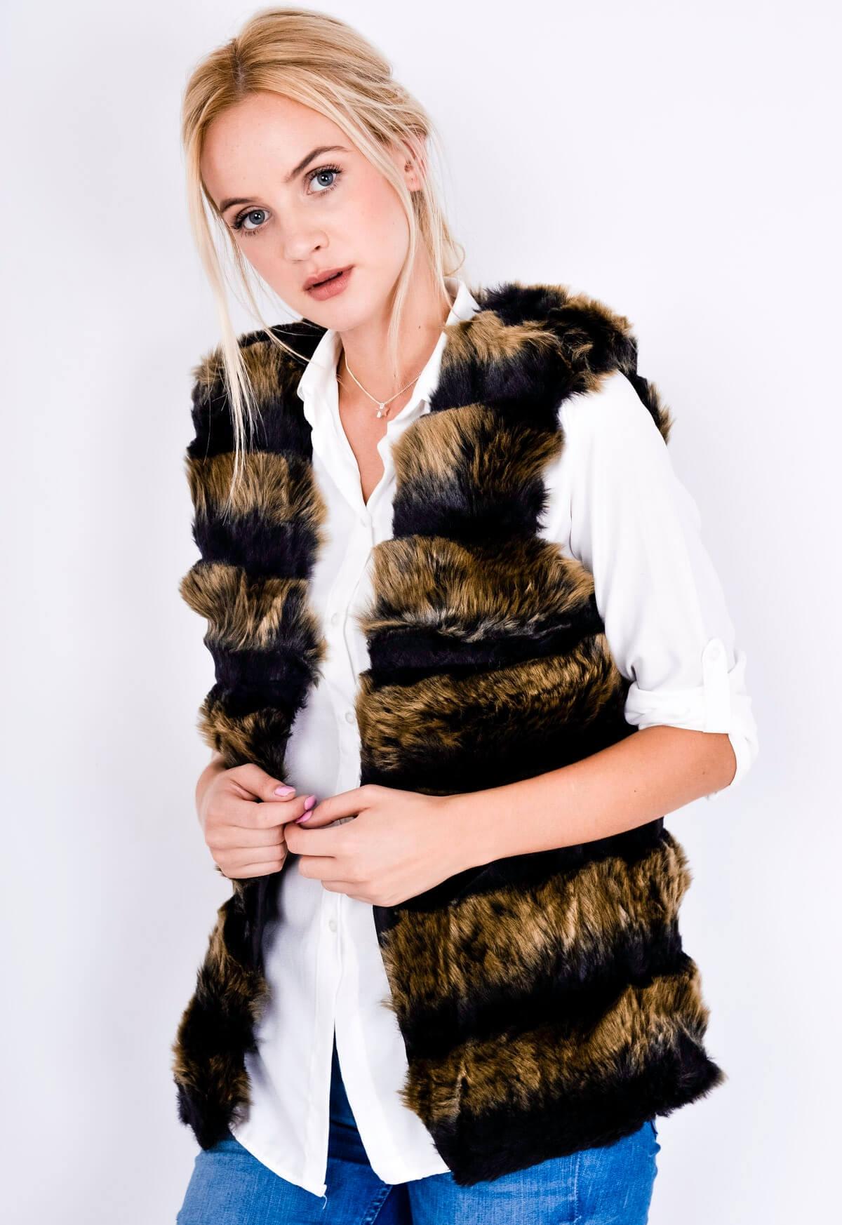 Dvoubarevná stínovaná dámská vesta - kožíšek