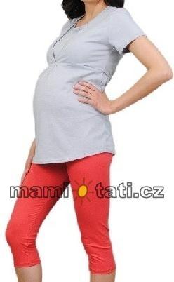 Be MaaMaa Těhotenské barevné legíny 3/4 délky - korálová