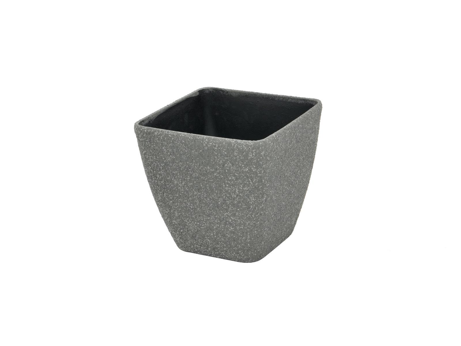 Květináč STONA-20, hranatý, malý, šedý