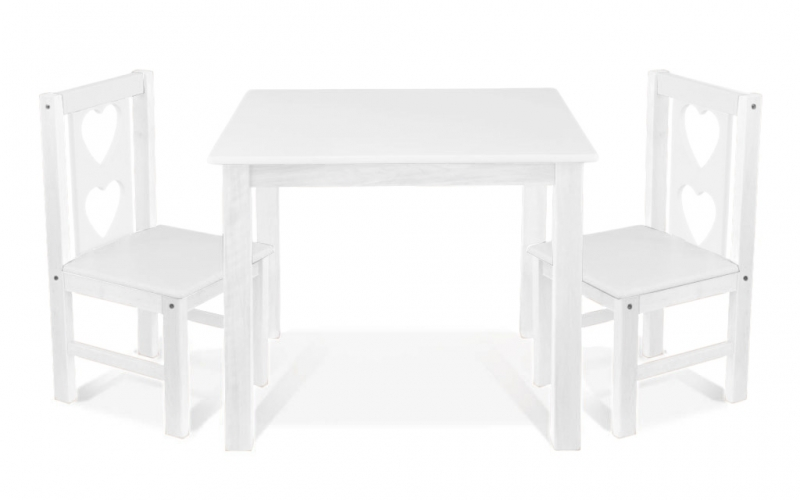 BABY NELLYS Dětský nábytek - 3 ks, stůl s židličkami - bílá, B/07