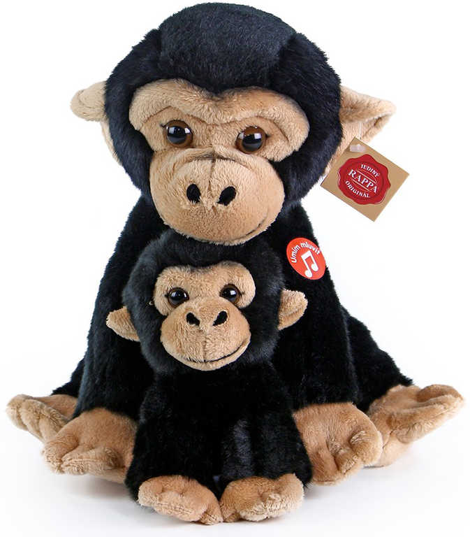 PLYŠ Opice 27cm set s mládětem na baterie Zvuk *PLYŠOVÉ HRAČKY*