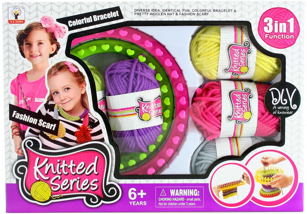 Dětská sada pletení šála a čepice tkalcovský stav 2ks s vlnou a nástrojem