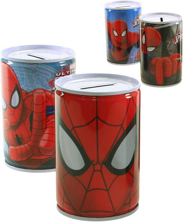 Pokladnička kulatá Spiderman dětská kasička 6 druhů kov