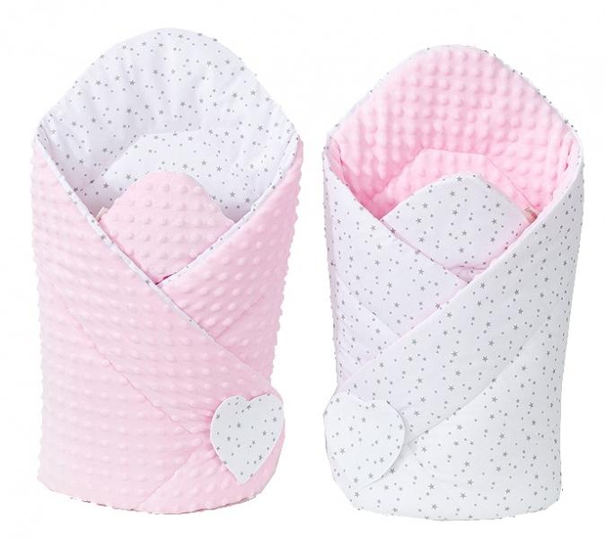 Oboustranná zavinovačka Minky Baby - Mini hvězdičky šedé na bílém/růžová
