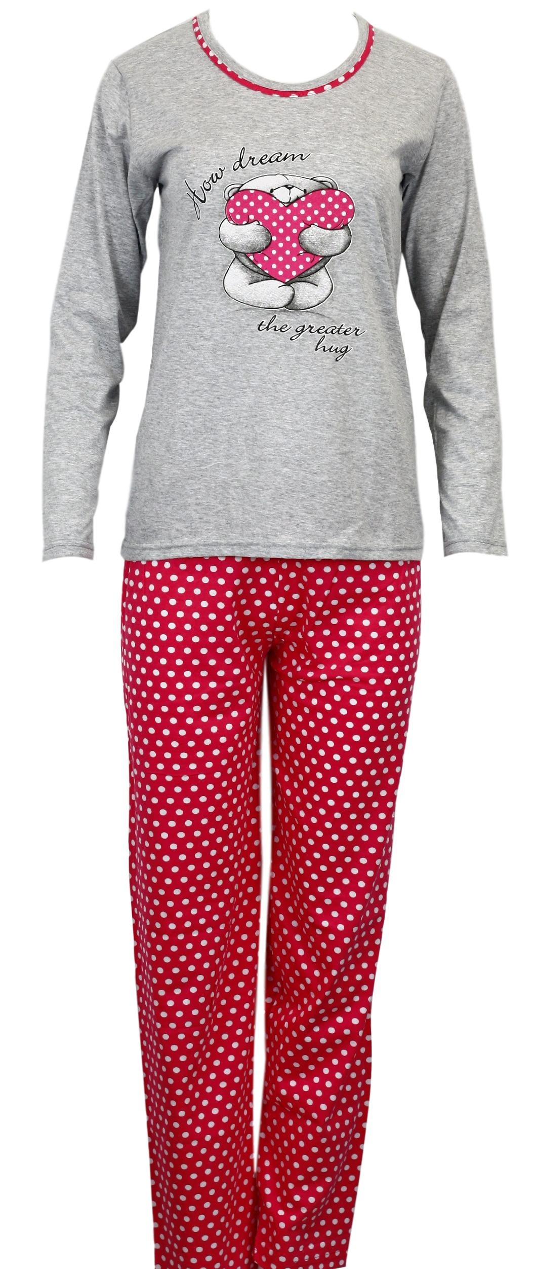 Dámské pyžamo se srdíčkem LAPH8034 - Cocoon - Růžová-vzor/XL