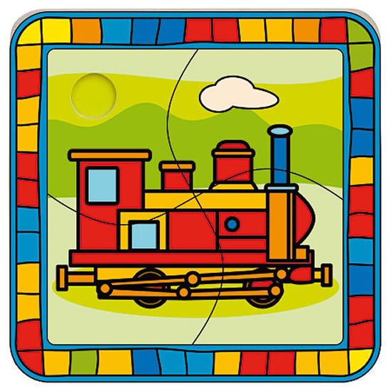 BINO DŘEVO Puzzle lokomotiva SKLÁDAČKA 4 díly *DŘEVĚNÉ HRAČKY* Mašinka