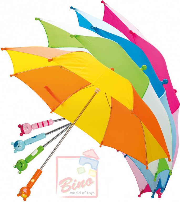 BINO DŘEVO Deštník dětský rukojeť zvířátko 58 cm - 4 barvy