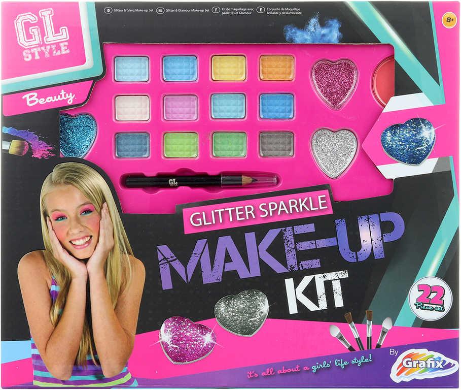 Dětský make-up třpytivý set šminky pro děti 22ks v krabici