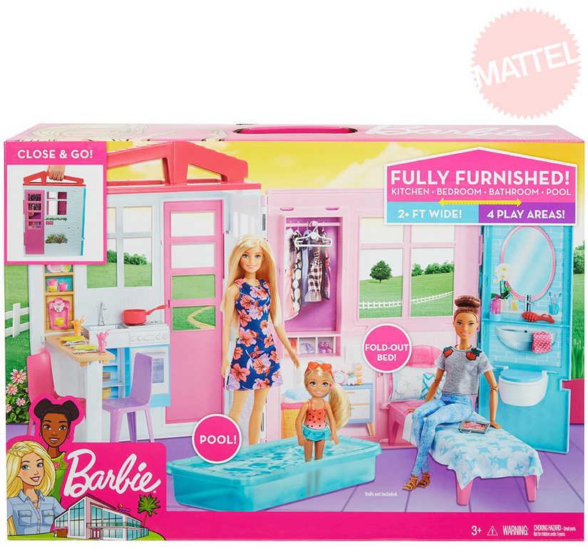 MATTEL BRB Dům pro panenku Barbie rozkládací herní set s nábytkem a doplňky